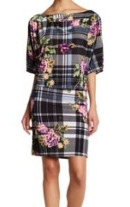 American Twist Plaid Floral Stretch Dress New XL